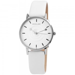 EXCELLANC Women's watch white leather strap 1900172-005