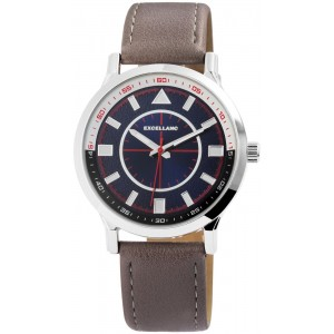EXCELLANC Men's watch brown leather strap 2900111-003