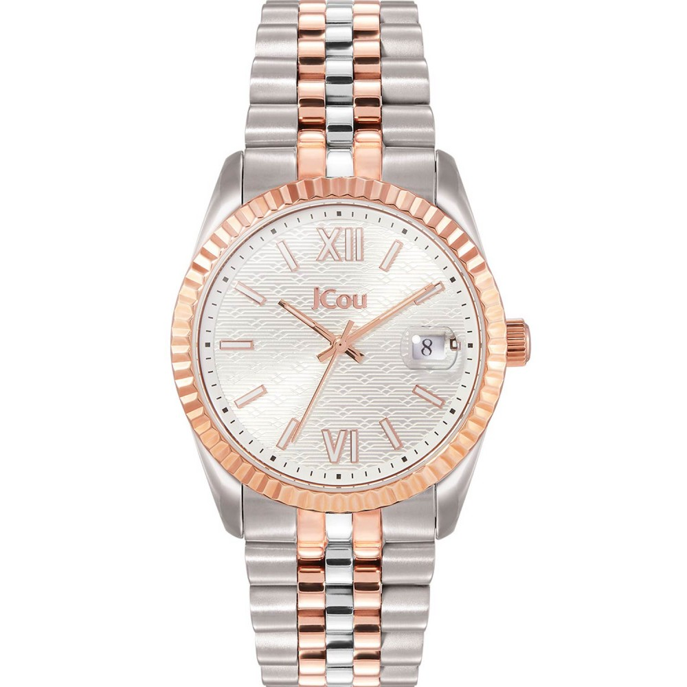 JCOU QUEEN'S II Ladies watch Silver & Rose Gold Stainless Steel Bracelet JU19038-1