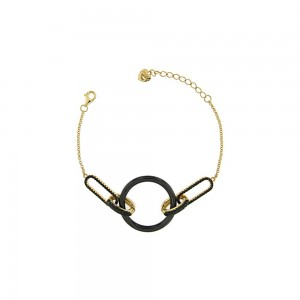 JOOLS Ladies Bracelet  in Silver 925  Gold plated with black zc  E5120D-T