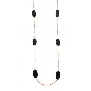 JOOLS Neclace Silver 925 Gold plated with black jems NECKLACE14.1