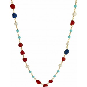 Breeze Ladies necklace in stainless steel gold plated  & jem stones 410032.1a