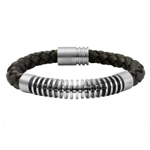 JUST Men's Bracelet  Brown Leather & Silver Stainless Steel  48-S8011BR