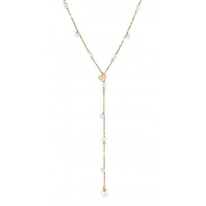 REBECCA LUCCIOLE Ladies necklace Silver 925 rose gold plated with crystals and pearls SLCKRB84