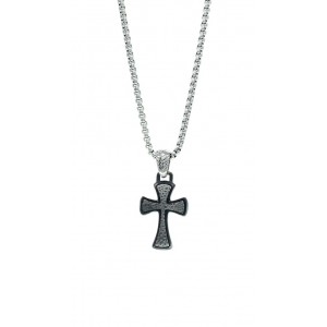 SEASON Men's Necklace  Silver and Black  Stainless Steel 2415-1