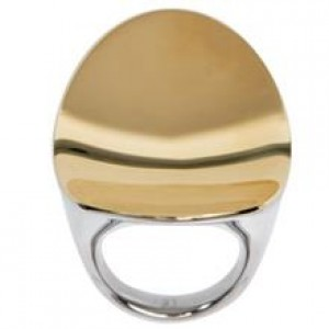 CALVIN KLEIN undulate LADIES  RING  SILVER AND GOLD STAINLESS STEEL KJ1AJR200206