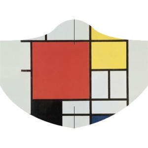 Face Mask LOQI PIET MONDRIAN Composition with Red, Yellow, Blue