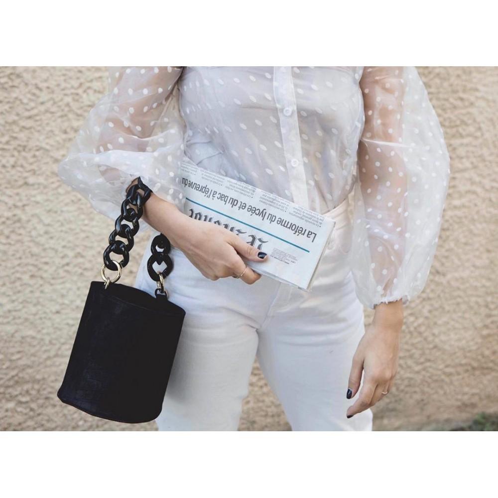 La Chaine Black Croc Pot Bag
