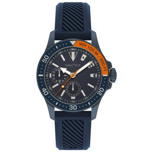 NAUTICA FREEBOARD FLAGS  Men's watch Multifunction Blue Silicone Strap NAPFRB924