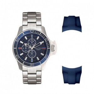NAUTICA BAYSIDE BOXED Men's watch Silver stainless steel bracelet/Blue Silicone Strap NAPBYS006