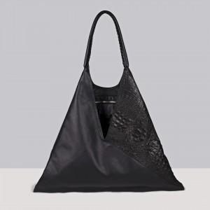 OMMA Athens Shoulder Bag Black Leather
