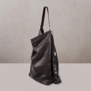 OMMA Montana Backpack / Shoulder Bag Black Leather