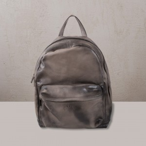 OMMA Oxford Backpack Grey Leather