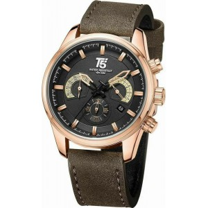 T5 Men's Watch Chronograph Brown Leather Strap H3661G