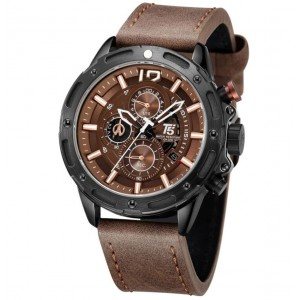 T5 Men's Watch Chronograph Brown Leather Strap H3639G-B