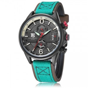 T5 Men's Watch Green Leather/Fabric Strap H3584G