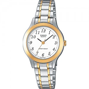 CASIO collection Silver & Gold Stainless Steel Braceletet  LTP-1263PG-7BEF
