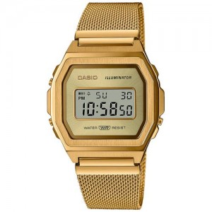 CASIO Vintage  Unisex watch-chrono Gold stainless steel bracelet A1000MG-9EF