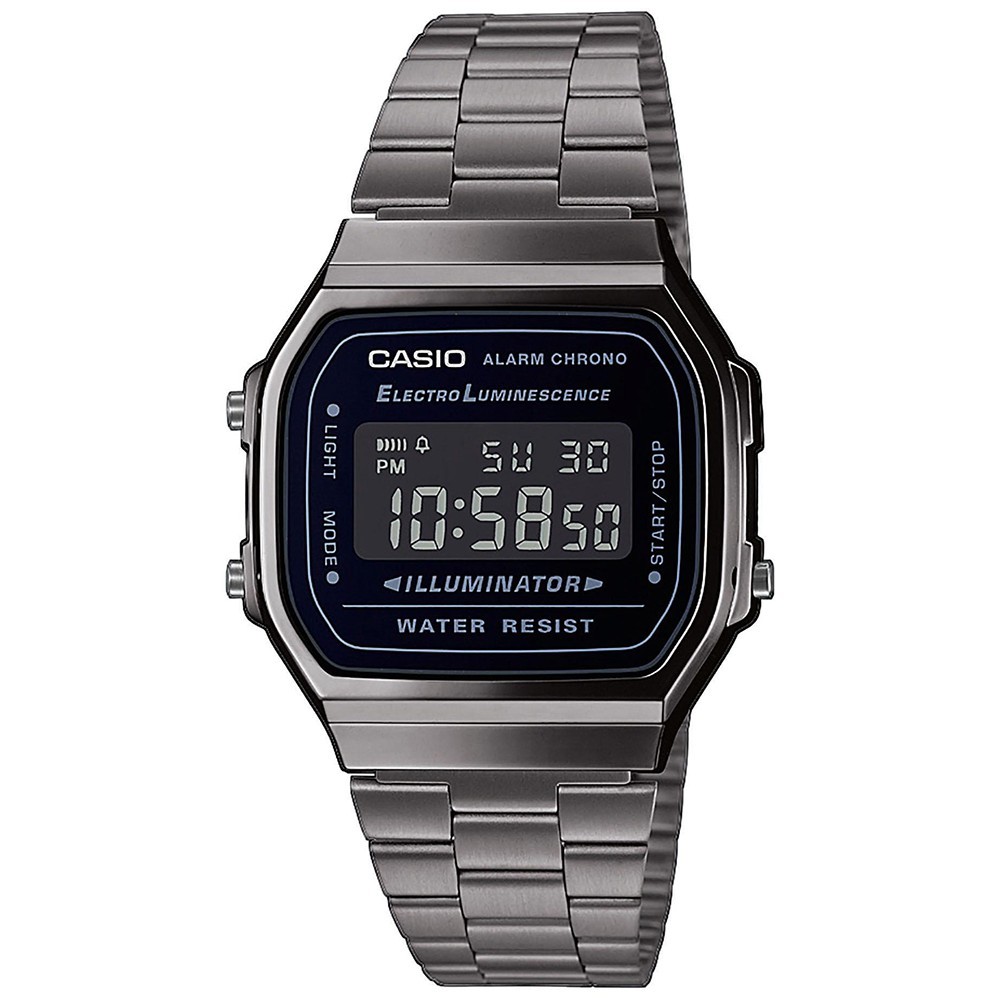 CASIO collection Chrono Grey stainless steel bracelet A-168WEGG-1BEF