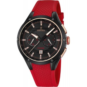 FESTINA  Men's watch chronograph red rubber strap F16833/1