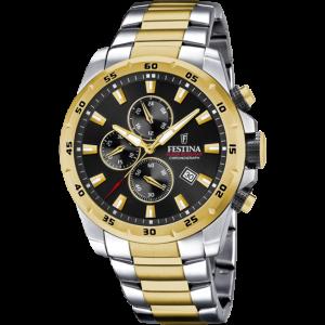 FESTINA  Men's watch chronograph Silver & Gold Stainless Steel Bracelet  F20562/4