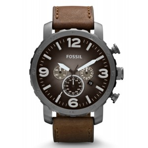 FOSSIL Nate Chronograph Brown Leather strap JR1424