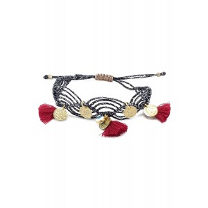 Irene Hussein Black Macrame Bracelet Eye, tussock & coins