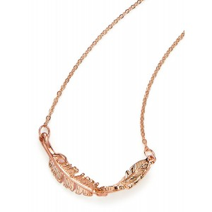 Rose gold necklace twisted feather