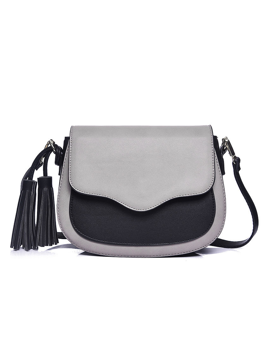 5dc6382321 Γυναικεία τσάντα ώμου Γκρι Μαύρο με Φούντες