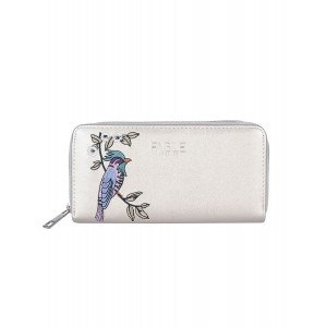 Silver bird embroidered large purse