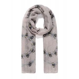 Grey bee printed long scarf