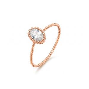 Kaytie Wu Oval CZ Ring Rose Gold Size 18mm