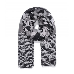 Black floral print pleated scarf