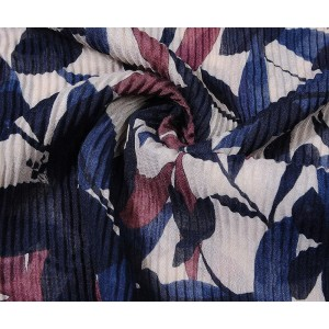 Blue floral print pleated scarf