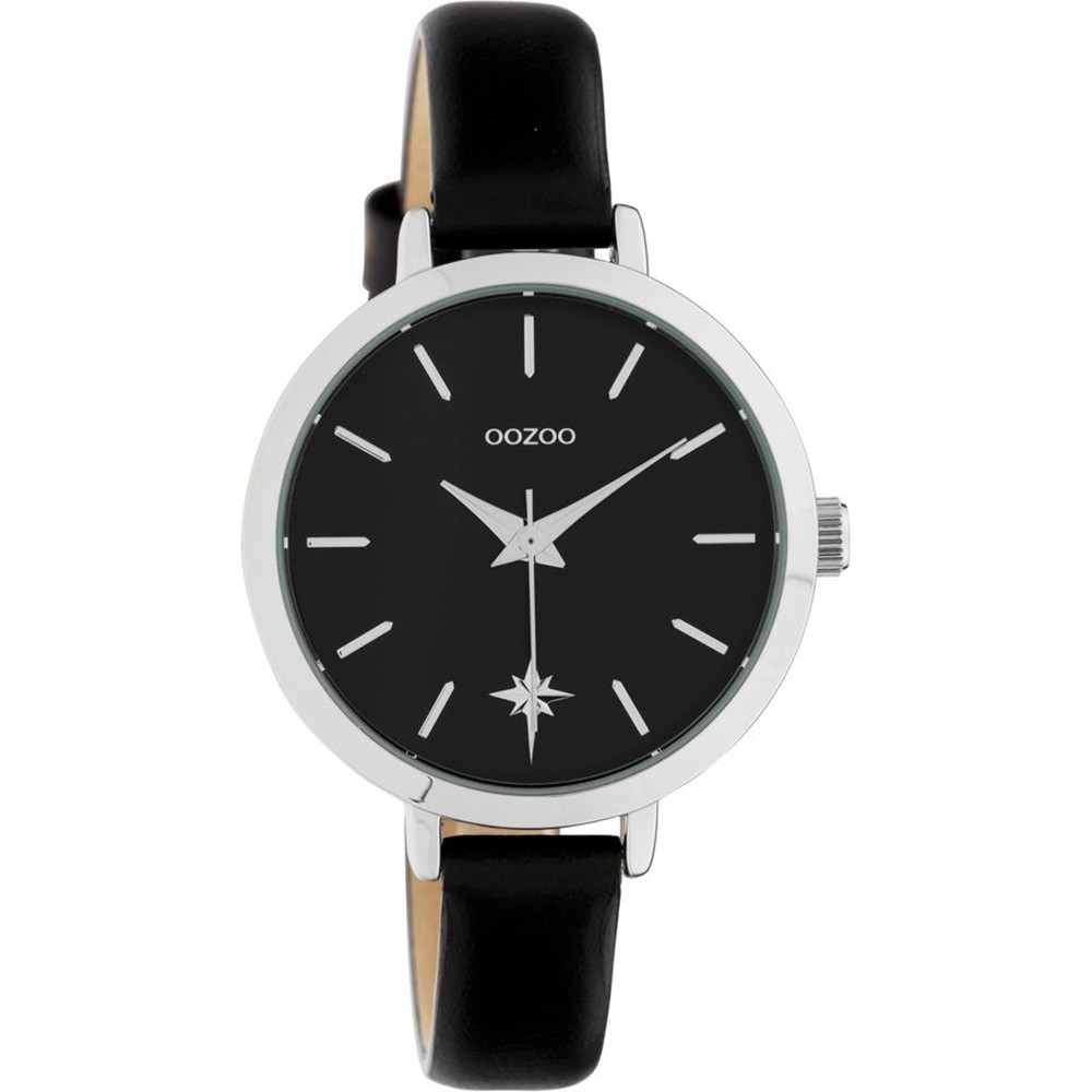 OOZOO Timepieces Women's Black Leather Strap C10389