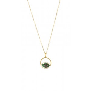 OXETTE TALISMAN Ladies Necklace ebil eye in Silver 925  Gold plated 01X05-02922