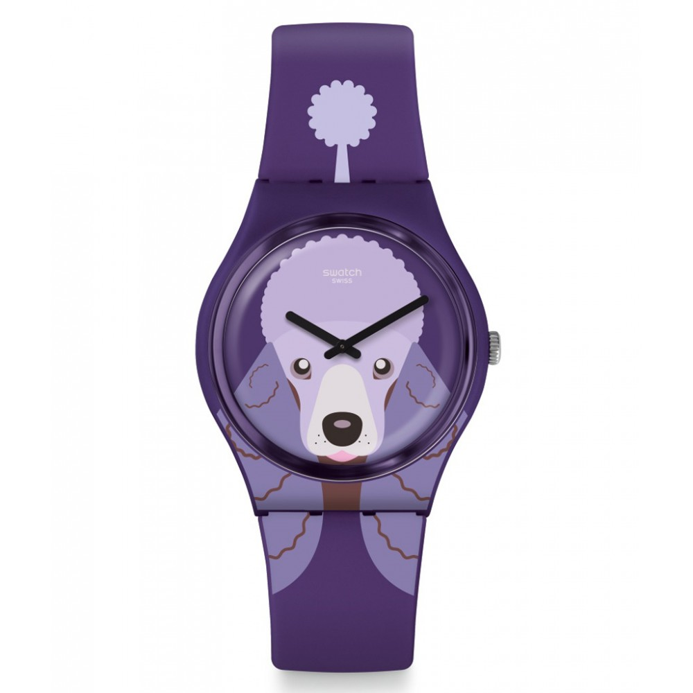 SWATCH PURPLE POODLE Watch Purple Silicone Strap GV133