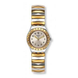 SWATCH DEMOISELLE D'HONNEUR Ladies watch Silver & Gold Stainless Steel Flex Bracelet YSS302A LARGE