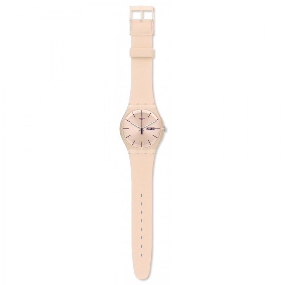 SWATCH ROSE REBEL Ladies watch Pink Silicone strap SUOT700