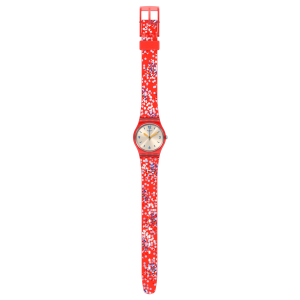SWATCH CONFETTINI ROSSI  Ladies Watch Red Silicone Strap LR136