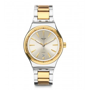 SWATCH SISTEM BLING Automatic Unisex watch Silver & Gold Stainless Steel Bracelet YIS429G
