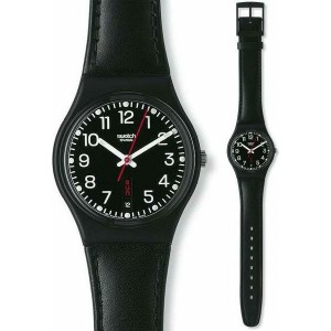 SWATCH RED SUNDAY   Black Leather Strap 17mm  AGB750