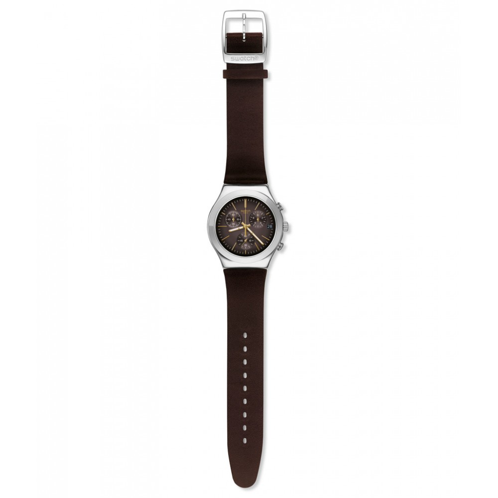 SWATCH BROWNFLECT Chronograph Brown Leather strap YCS600